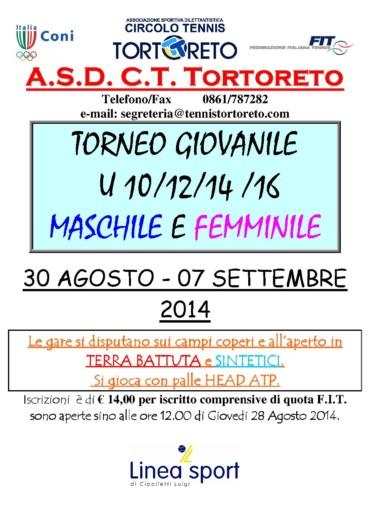 TORNEO GIOVANILE 30 AGOSTO 7 SETTEMBRE 2014