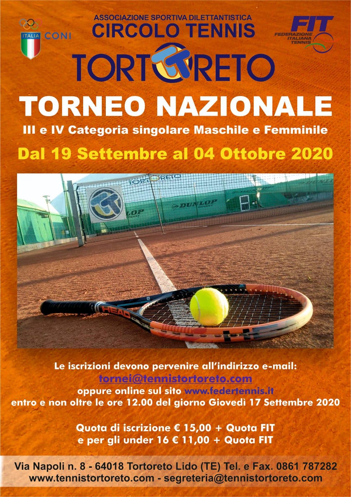 Torneo Nazionale III e IV categoria dal 19 settembre al 04 ottobre